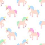 Unicorn seamless pattern on white background. Royalty Free Stock Photos
