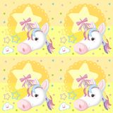 Unicorn Seamless Wallpaper no amarelo ilustração do vetor