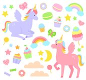 Unicorn set. Set of unicorns, rainbows, cupcakes and other cute items Royalty Free Stock Photography