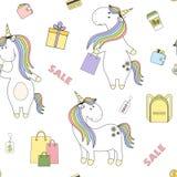 2018 04 28_unicorn shoping_P1 royaltyfri illustrationer