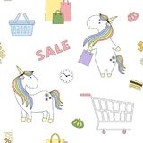 2018 04 28_unicorn shopping_P2 illustrazione di stock