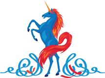 Unicorn silhouette icon logo with file tail and mane. Simple style symbol Stock Image