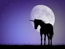 Unicorn silhouette in the moonlight. Illustration of Unicorn silhouette in the moonlight Royalty Free Stock Images