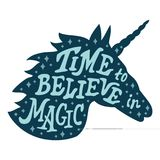 Unicorn silhouette vector head with motivation quote stock photography
