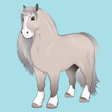 Unicorn with silver mane. On a blue background Royalty Free Stock Image