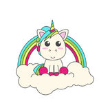 The unicorn sits on a cloud. Behind him is a rainbow. Royalty Free Stock Image