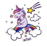 Unicorn sitting on rainbow royalty free illustration