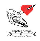 Unicorn skull with heart Royalty Free Stock Image