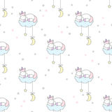 Unicorn sleeping on cloud seamless vector pattern Royalty Free Stock Images