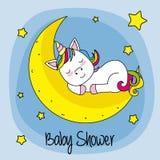 Unicorn sleeping on a moon. Baby shower card. unicorn sleeping on a moon Stock Image