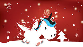 Unicorn with snowy Christmas theme Royalty Free Stock Photography