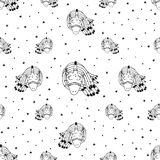Unicorn in space art pattern vector. Hand Drawn Black and White Simple Tattoo Doodle unicorn pattern in Kids Style. Surreal Background Vector for textile, print Royalty Free Stock Photo
