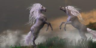 Unicorn Stallions Fighting illustration de vecteur