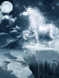 Unicorn standing on the cliff Royalty Free Stock Photography