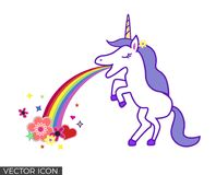 Unicorn Vomiting Rainbow and flowers. Unicorn standing on two feet, vomiting a rainbow that ends on flowers and shapes vector illustration