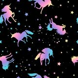 Unicorn and star silhouettes pattern royalty free illustration