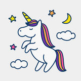 Unicorn on stars, clouds and moon background. Magic cute unicorn, stars, clouds and moon poster, greeting card, vector illustration with outline Stock Image