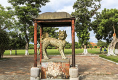 Unicorn statue in Hue Palace, Vietnam. Hue is famous for culture heritage with music palaces, royal tombs of Kings and temples.There are many beautiful places in Royalty Free Stock Images