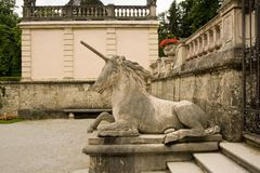 Unicorn statue in mirabell garden, salzburg Stock Photo