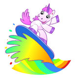 Unicorn surfer Royalty Free Stock Photo