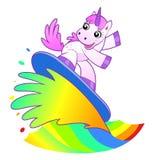 Unicorn surfer. On the rainbow flow vector illustration