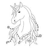 Unicorn Tattoo Symbol. Unicorn black and white tattoo, coloring page Royalty Free Stock Photography