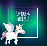 Unicorn Template sur Aurora Background Photos libres de droits