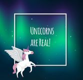Unicorn Text Template en colores pastel lindo Foto de archivo libre de regalías
