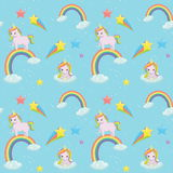 Unicorn themed seamless vector pattern. Stock Images