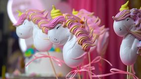 Unicorn themed treats, close-up against colorful background. Children`s birthday party. Unicorn themed treats, against a colorful background. Slow close-up stock footage