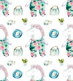 Unicorn a toy-sleeping in green panties. Seamless pattern. Watercolor hand drawn iluustration stock illustration