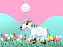 A unicorn with tulip flowers paper cut style royalty free illustration