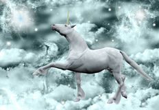 Unicorn under the milky way. A wonderful unicorn over the clouds and under the milky way Royalty Free Stock Images