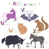 Vector hand drawn cute abc alphabet animal scandinavian colorful design,lion,mouse,narwha,owl. Unicorn, vampire bat, xerus, yak and zebra, cute animals, set royalty free illustration