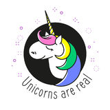 Unicorn vector circle icon with text UNICORNS ARE REAL, magic star galaxy, rainbow fashion mane and golden horn. Stock Photo