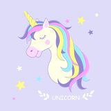 Unicorn. Vector illustration. Cute unicorn with stars. Royalty Free Stock Photos