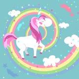 Unicorn Vector Illustration Gekleurde Regenboog Stock Afbeeldingen