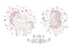 Unicorn vector sweet cute illustration. Magic fantasy design. Cartoon rainbow animal isolated horse. Fairytale unicorn Stock Photos