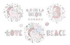 Unicorn vector sweet cute illustration. Magic fantasy design. Cartoon rainbow animal isolated horse. Fairytale unicorn Royalty Free Stock Photography