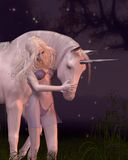 The Unicorn and the Virgin Stock Images