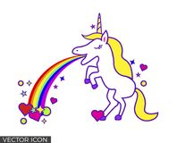 Unicorn Vomiting Rainbow and shapes. Unicorn standing on two feet, vomiting a rainbow that ends on colorful shapes vector illustration