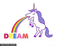 Unicorn Vomiting Rainbow and Word Dream. Unicorn standing on two feet, vomiting a rainbow that ends on the word Dream stock illustration