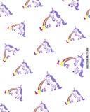 Unicorn Vomiting Rainbow and Word Love Pattern. Unicorn standing on two feet, vomiting a rainbow that ends on the word Love, pattern design stock illustration
