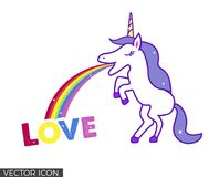Unicorn Vomiting Rainbow and Word Love. Unicorn standing on two feet, vomiting a rainbow that ends on the word Love vector illustration