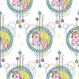 Unicorn Watercolor Seamless Pattern Stock Afbeelding