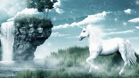 Unicorn and waterfall. Fantasy scenery with unicorn and misty waterfall