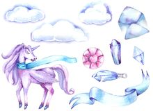 unicorn Waterverf illustratie-2 Stock Afbeelding
