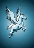 Unicorn with wings. Flying Unicorn, blue colored, illustration Royalty Free Stock Images