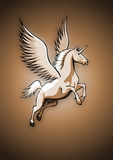 Unicorn with wings. Flying Unicorn on brown background Royalty Free Stock Photos