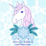 Unicorn With Big Snowflake Stock Image